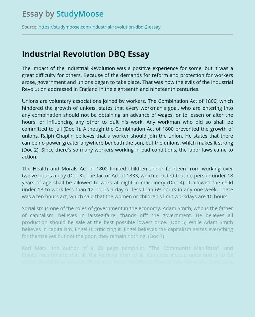 Industrial Revolution DBQ