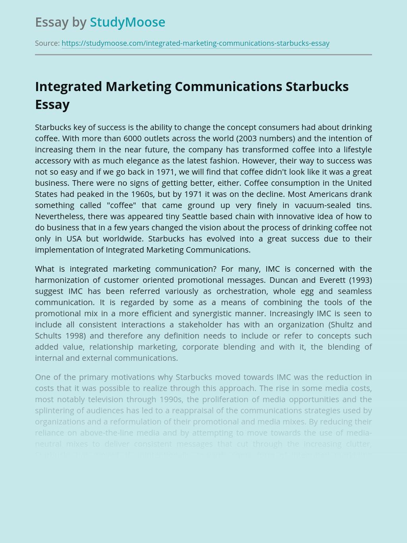 Integrated Marketing Communications Starbucks