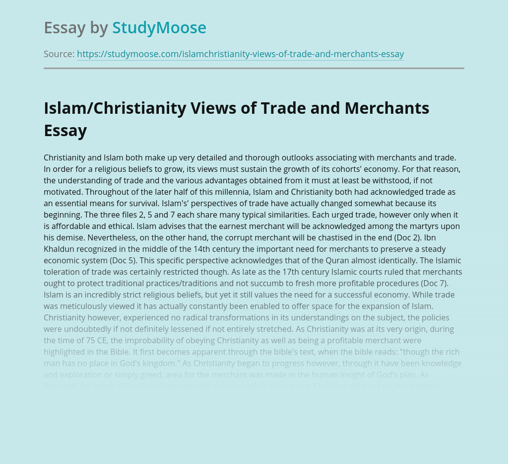 Islam/Christianity Views of Trade and Merchants