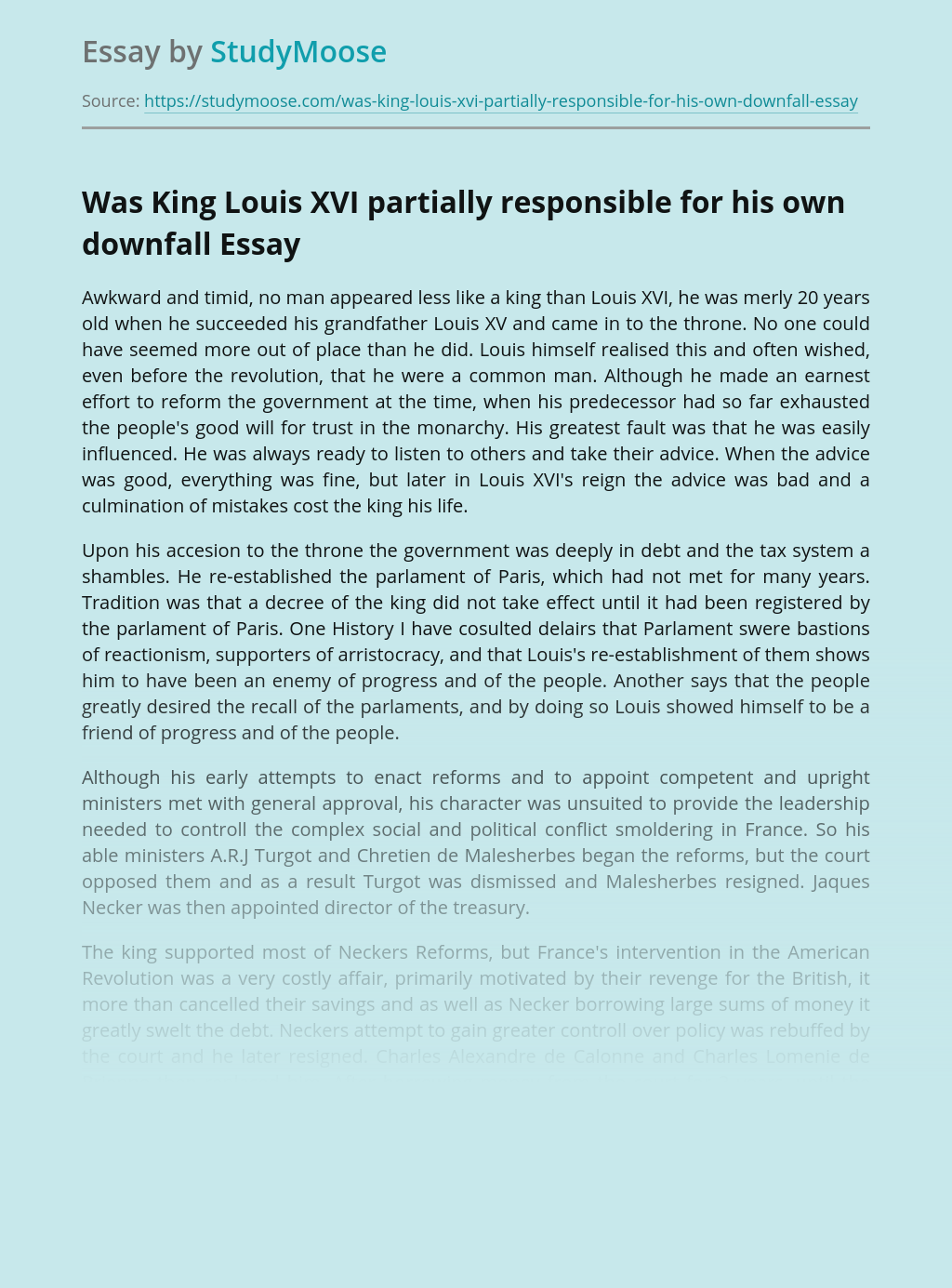 Was King Louis XVI Partially Responsible For His Own Downfall