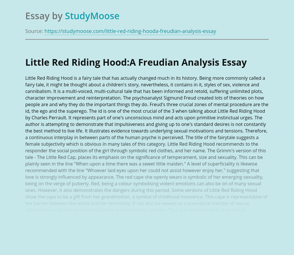 Little Red Riding Hood and Sigmund Freud's Approach