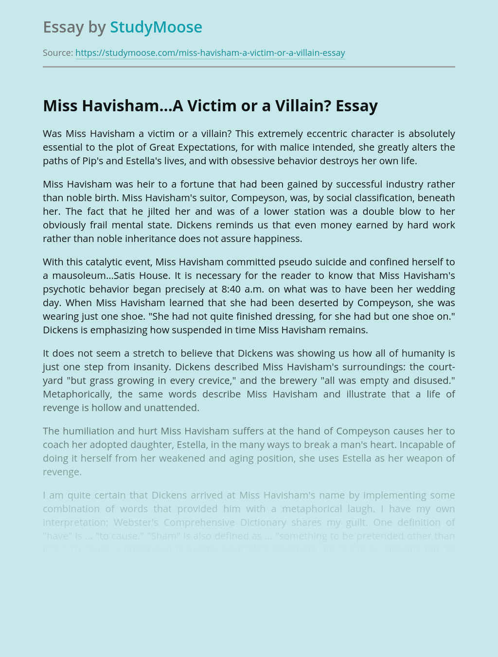 Miss Havisham...A Victim or a Villain?