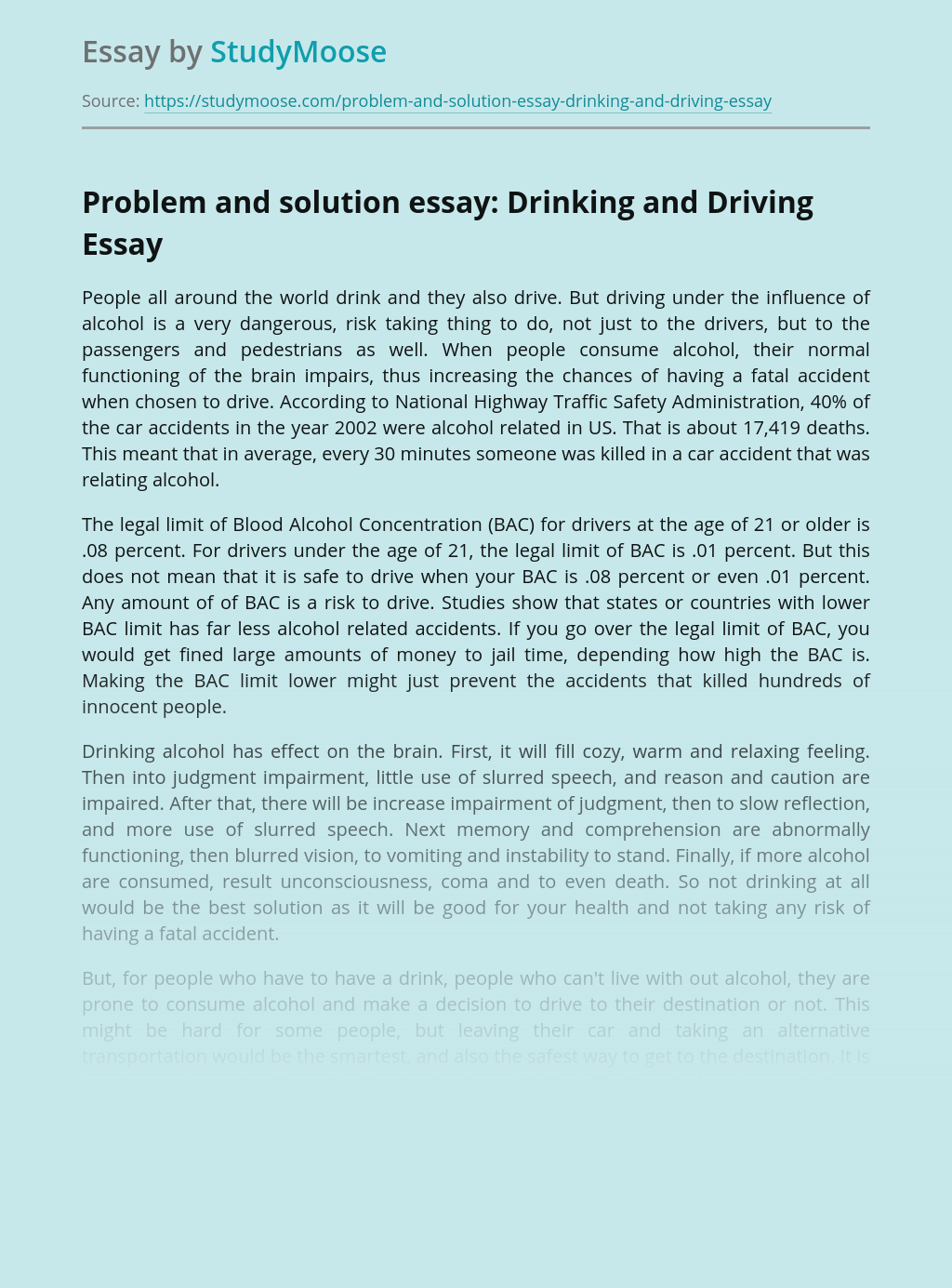 Problem and solution essay: Drinking and Driving