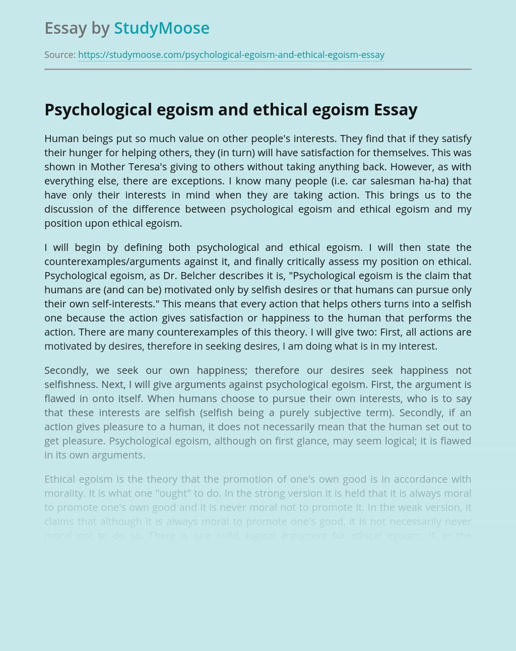 Psychological Egoism and Ethical Egoism