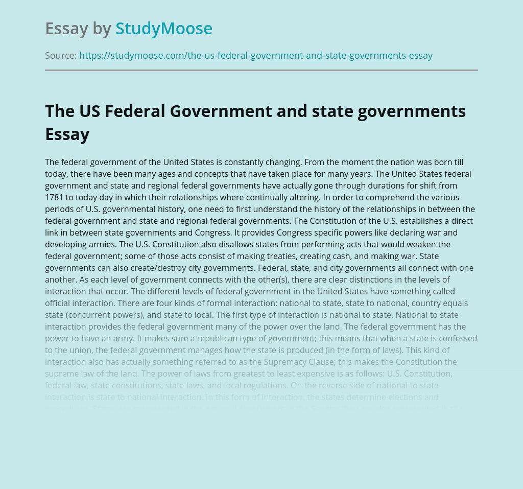 The US Federal Government and state governments