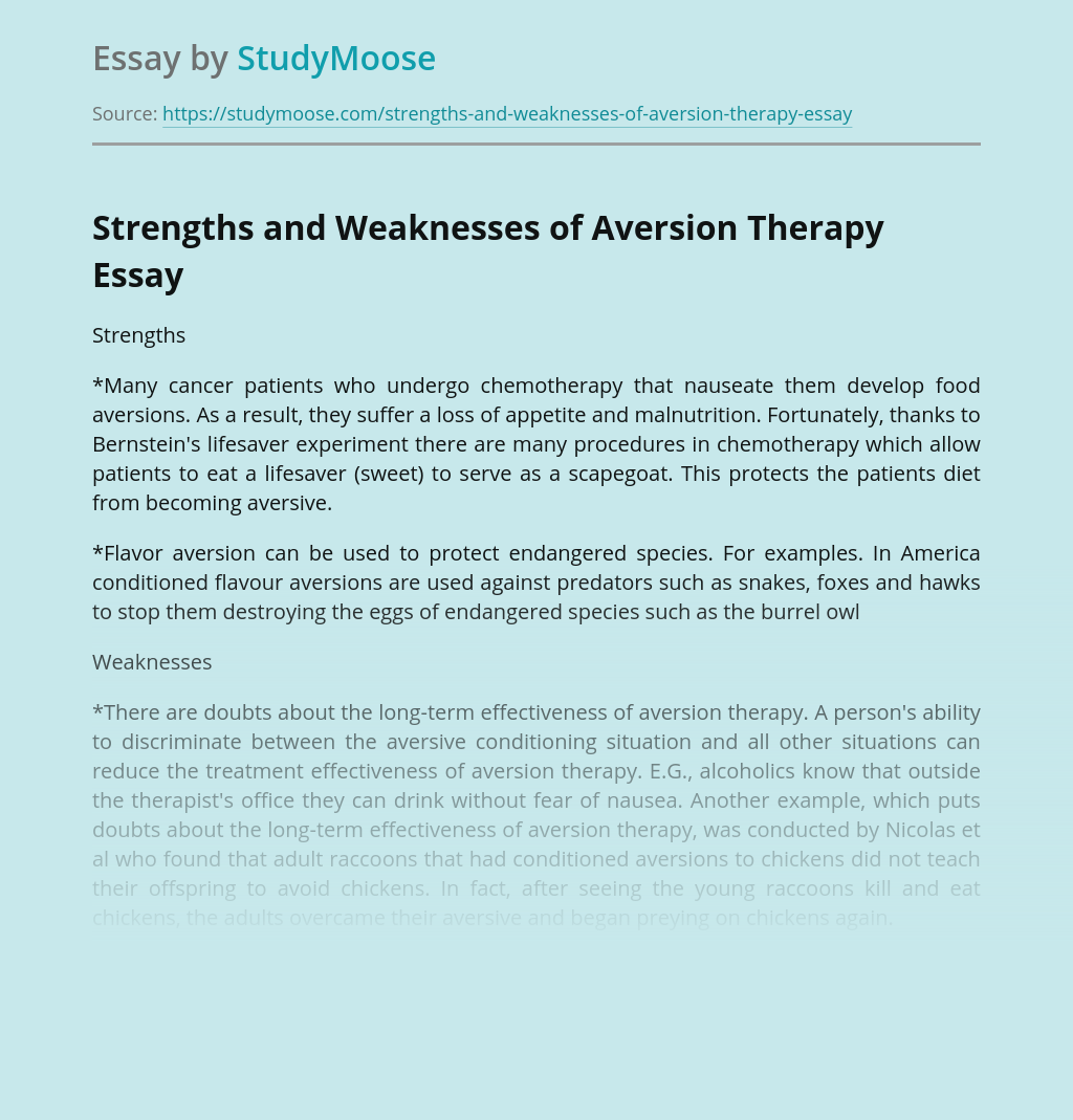 Strengths and Weaknesses of Aversion Therapy