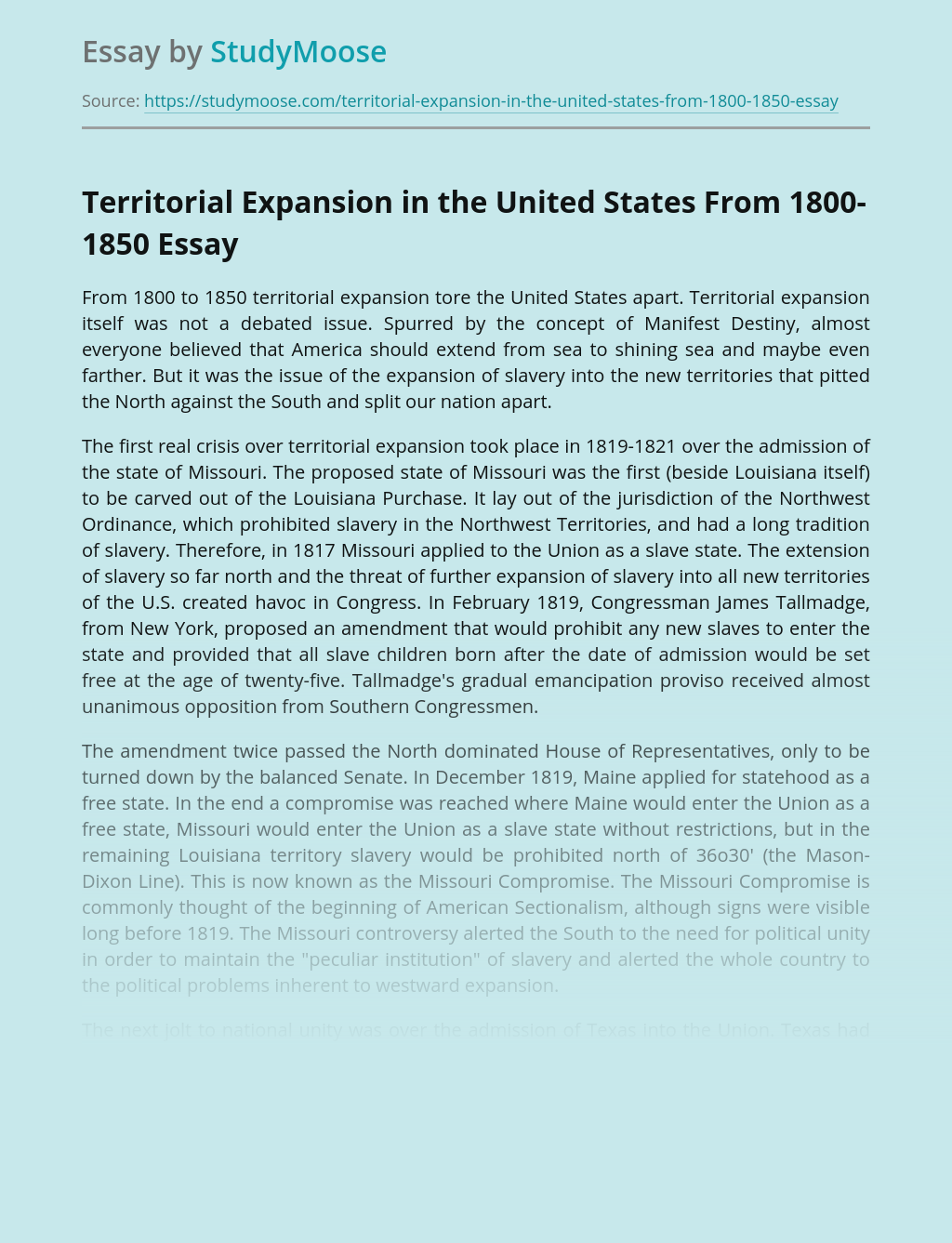 Territorial Expansion in the United States From 1800-1850