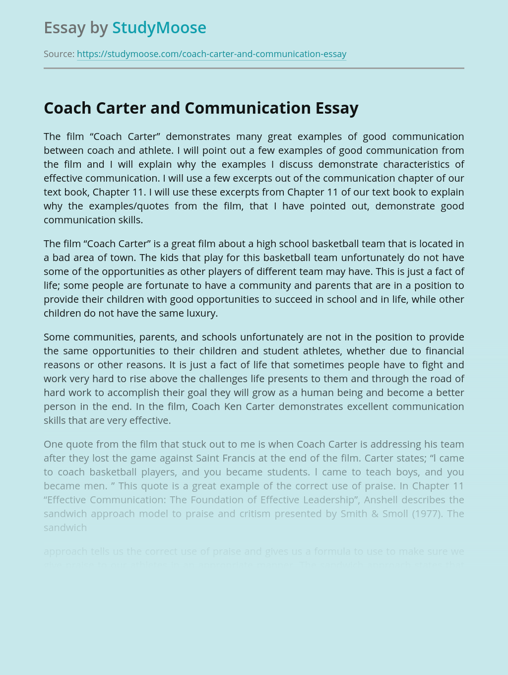 Coach Carter and Communication