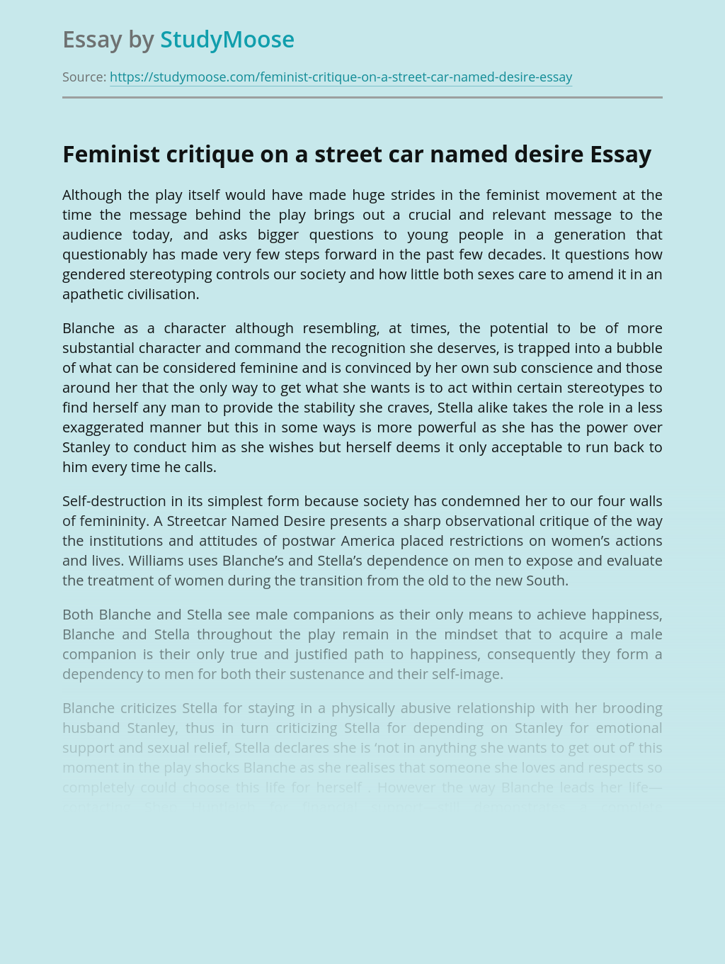 Feminist critique on a street car named desire