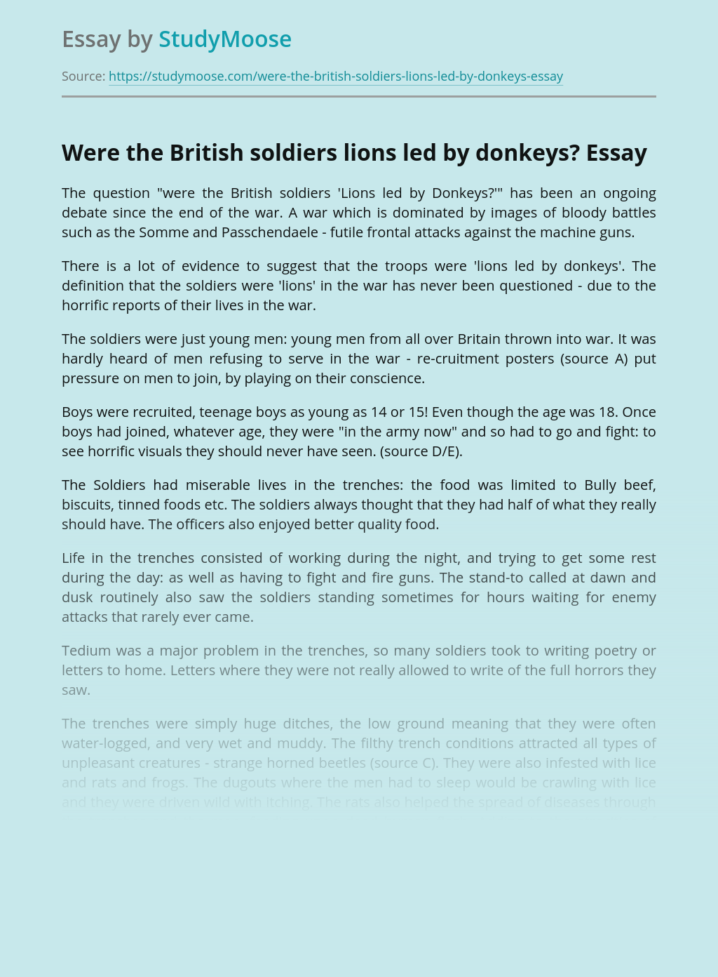 Were the British soldiers lions led by donkeys?