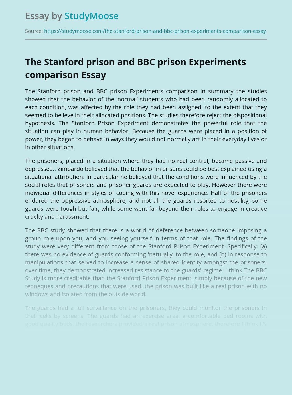 The Stanford Prison and BBC Prison Experiments Comparison