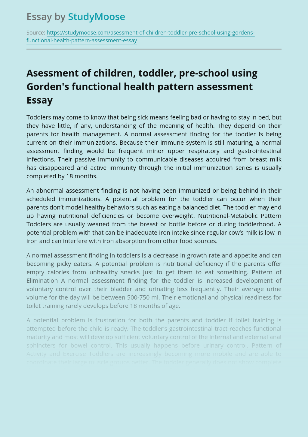 Asessment of children, toddler, pre-school using Gorden's functional health pattern assessment