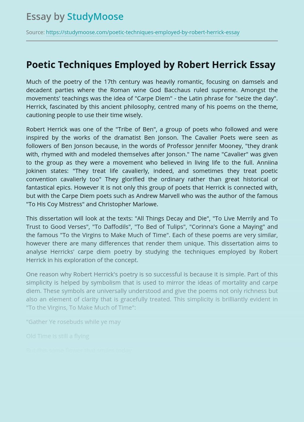 Poetic Techniques Employed by Robert Herrick