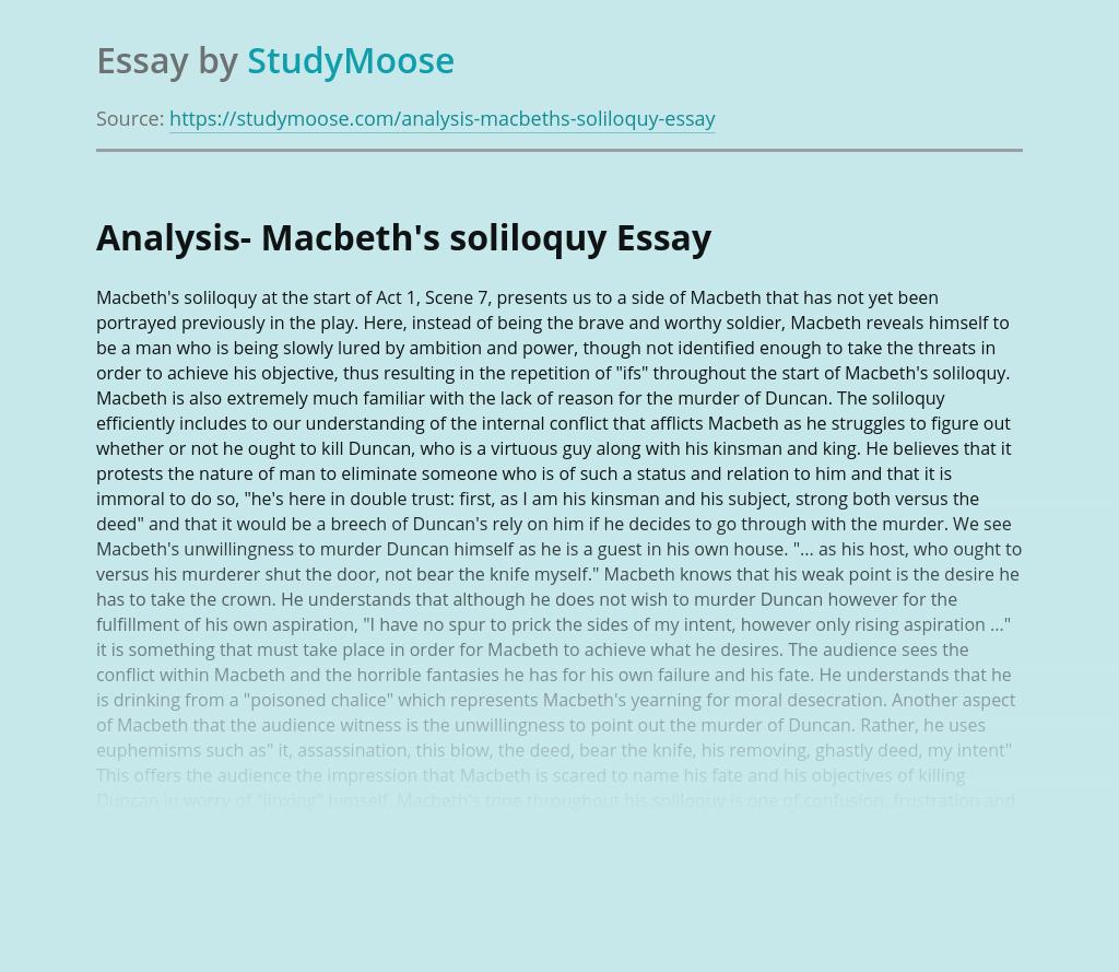Analysis- Macbeth's soliloquy