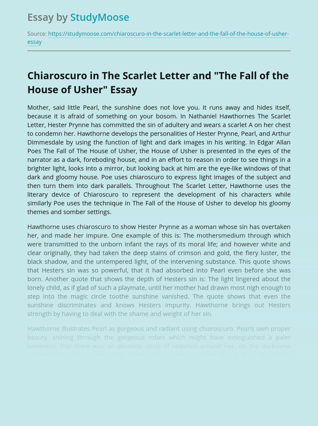 """Chiaroscuro in The Scarlet Letter and """"The Fall of the House of Usher"""""""