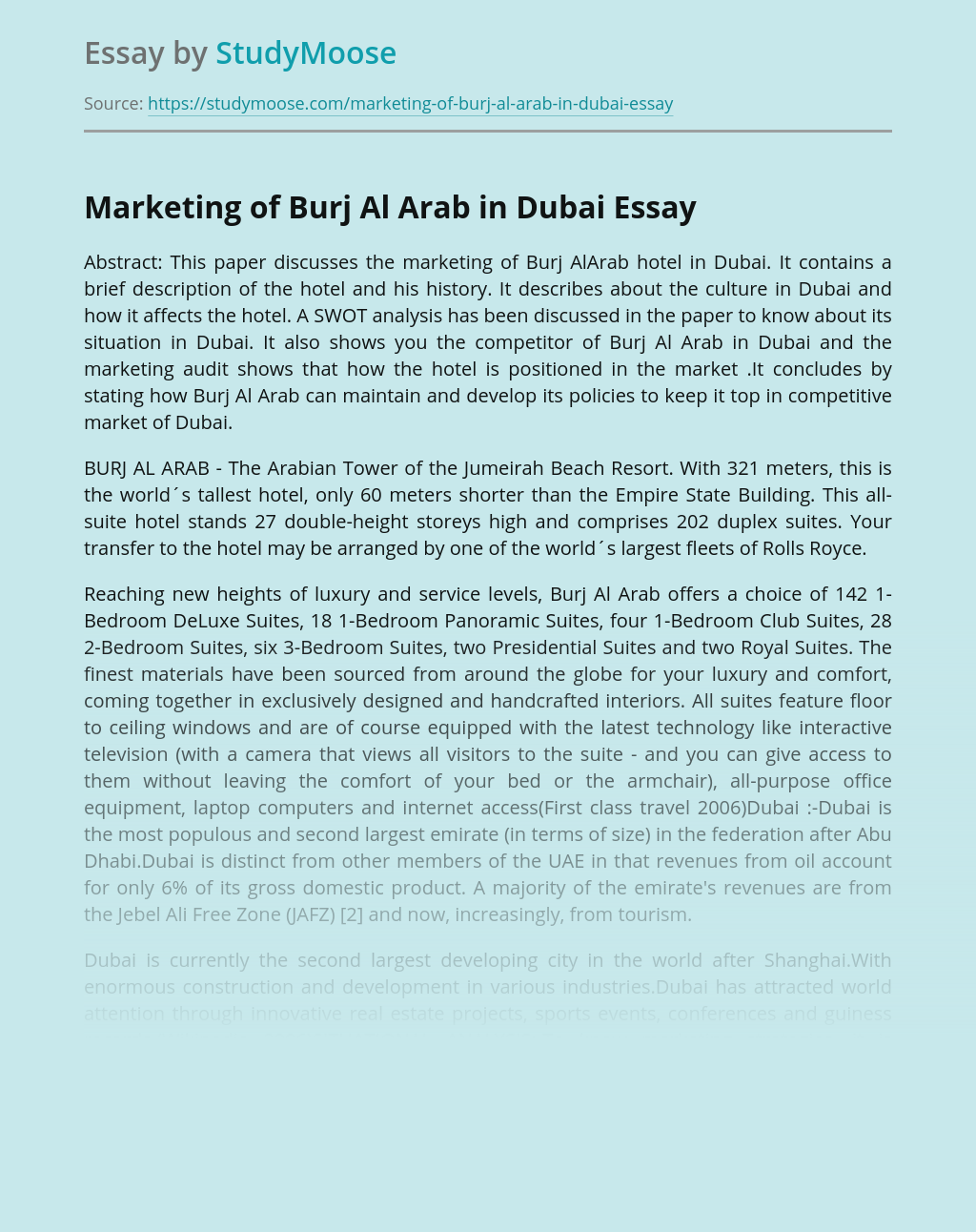Marketing of Burj Al Arab in Dubai