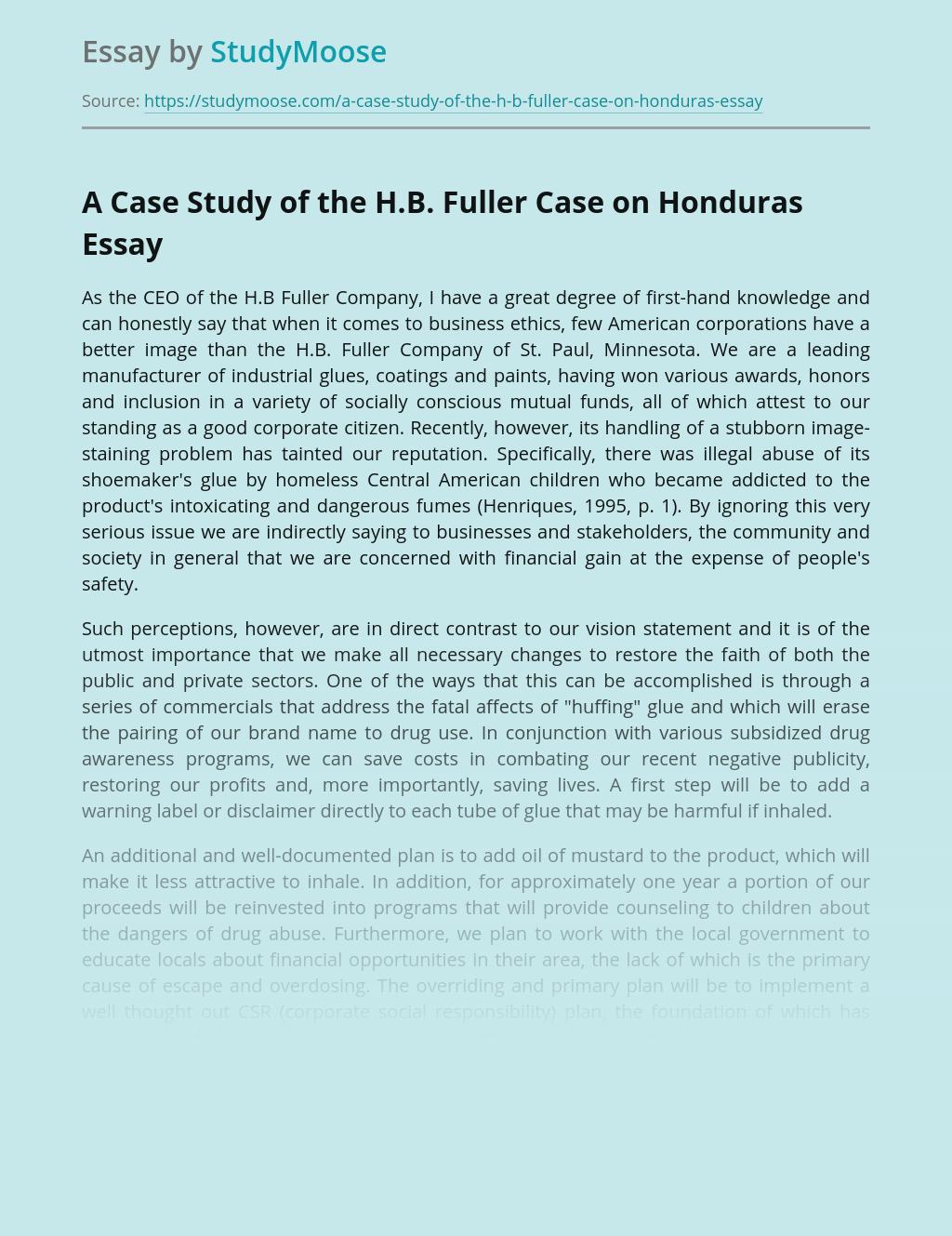 A Case Study of the H.B. Fuller Case on Honduras