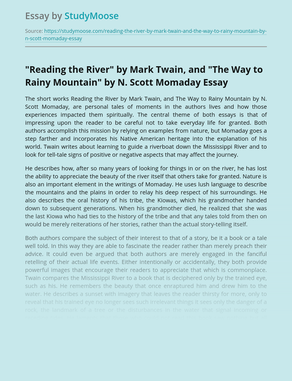 """""""Reading the River"""" by Mark Twain, and """"The Way to Rainy Mountain"""" by N. Scott Momaday"""