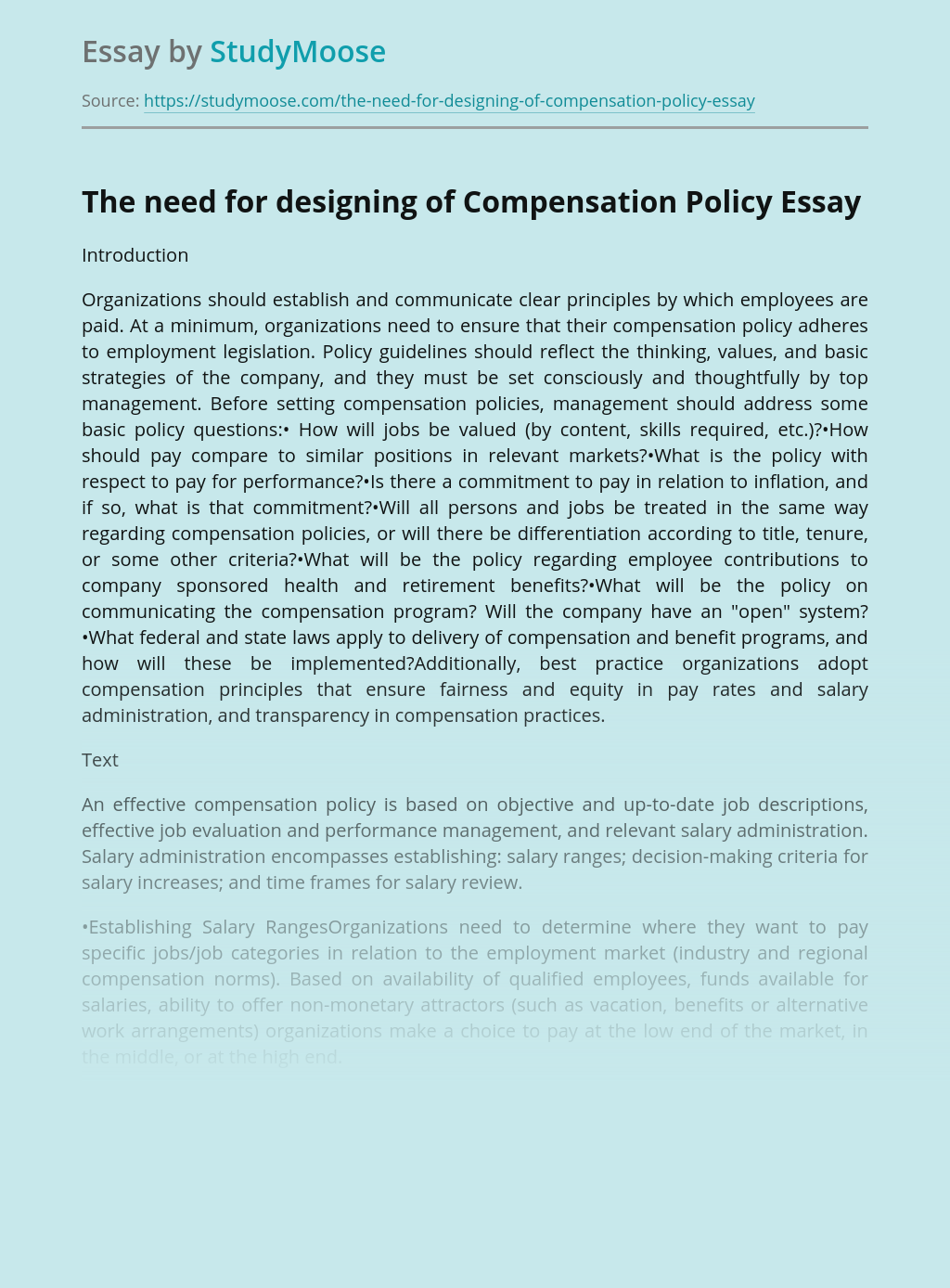 The need for designing of Compensation Policy