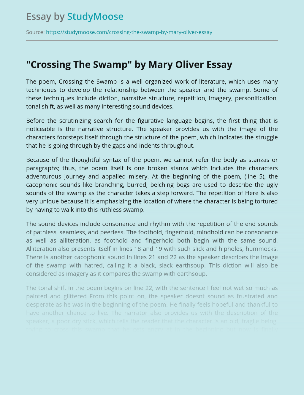 """Crossing The Swamp"" by Mary Oliver Poem Analysis"