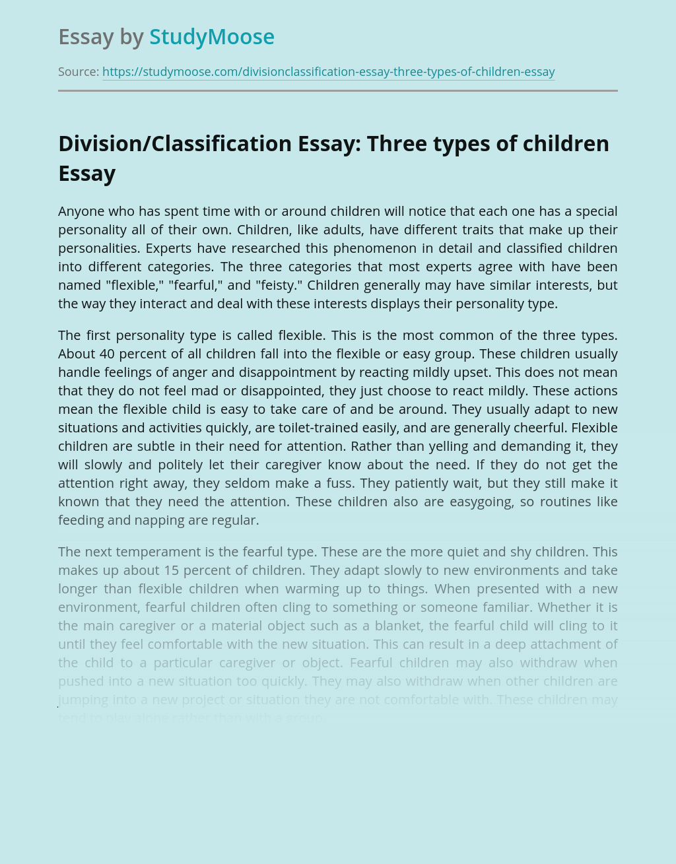 Division/Classification Essay: Three types of children