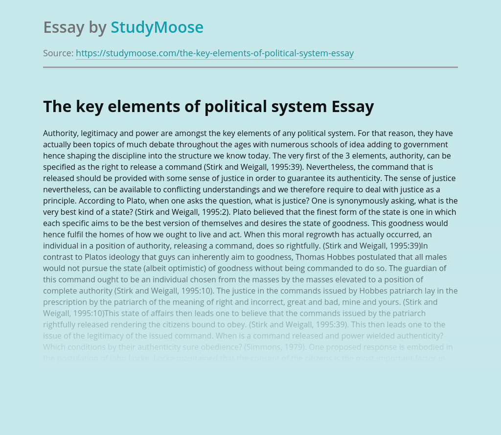 The key elements of political system
