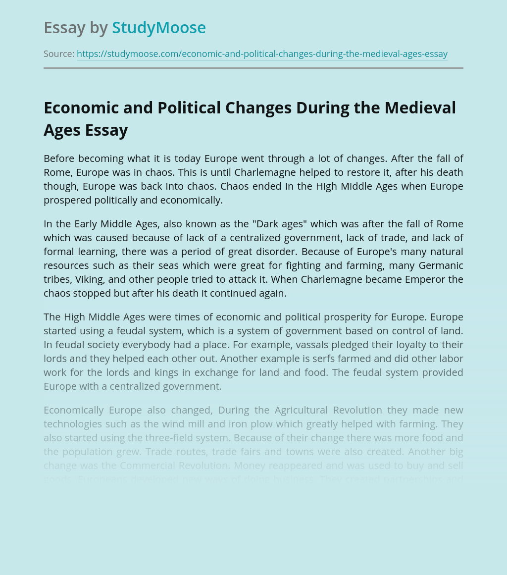 Economic and Political Changes During the Medieval Ages