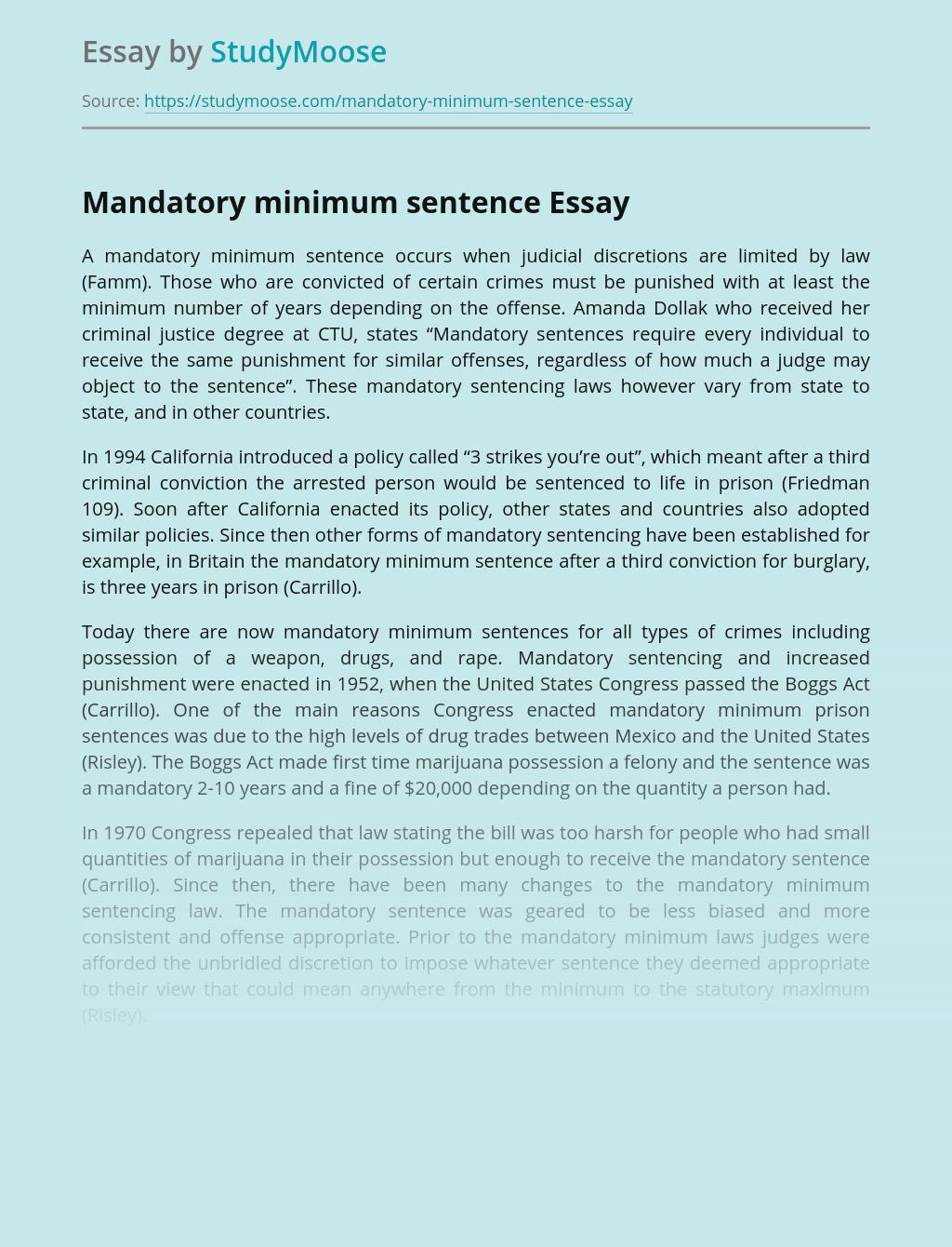 Mandatory Minimum Sentence