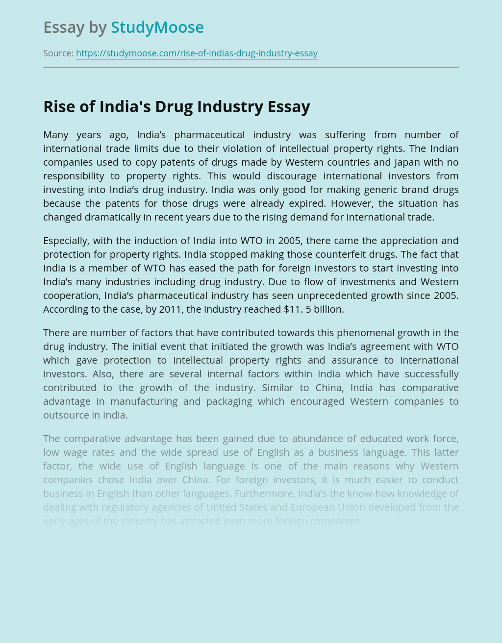 Rise of India's Drug Industry