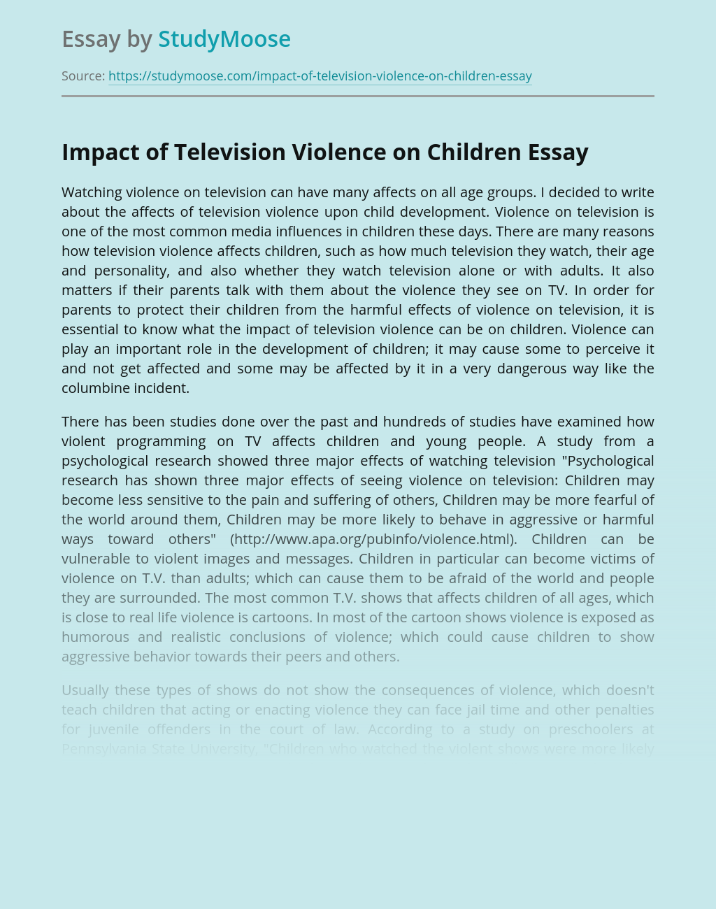 Impact of Television Violence on Children