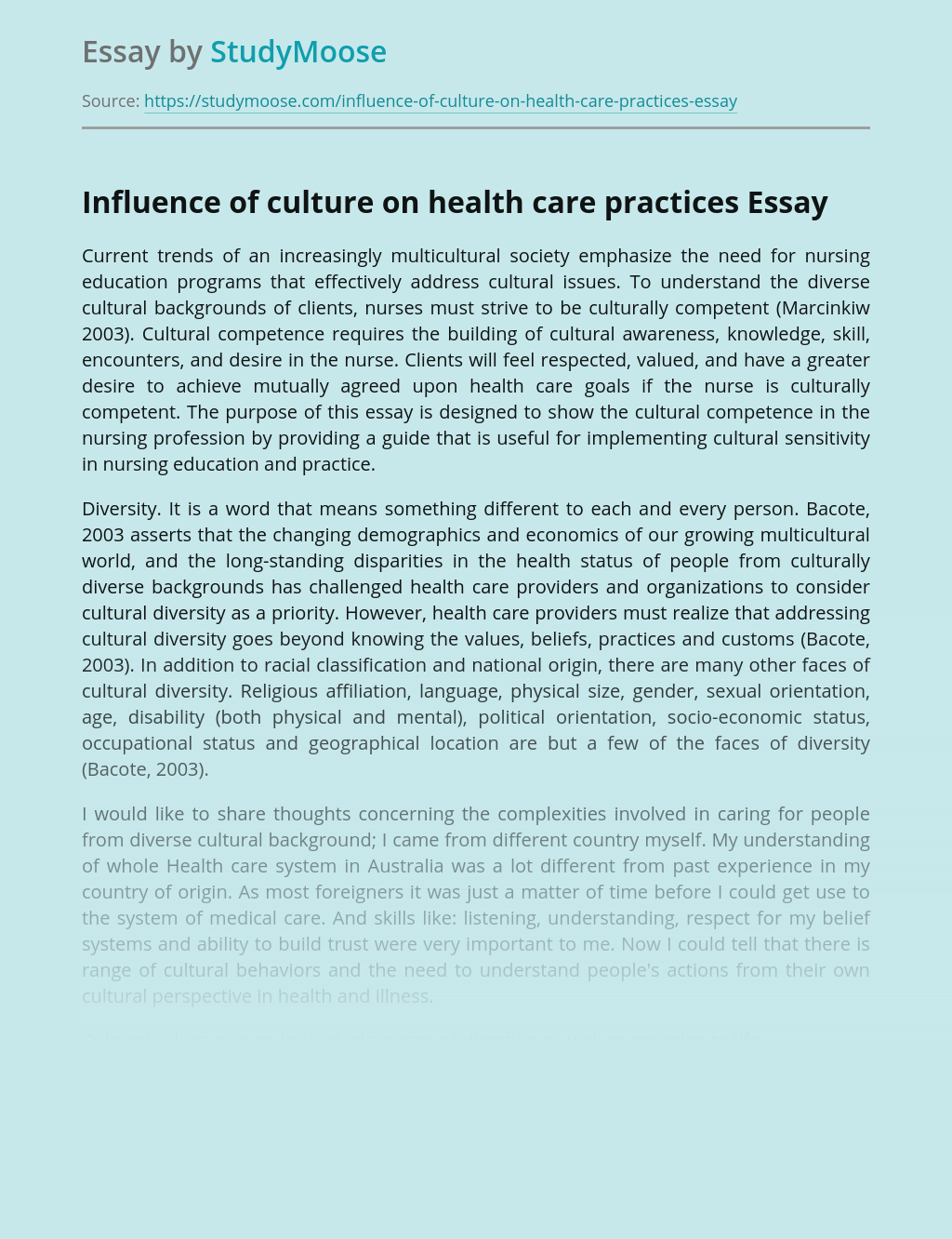 Influence of culture on health care practices