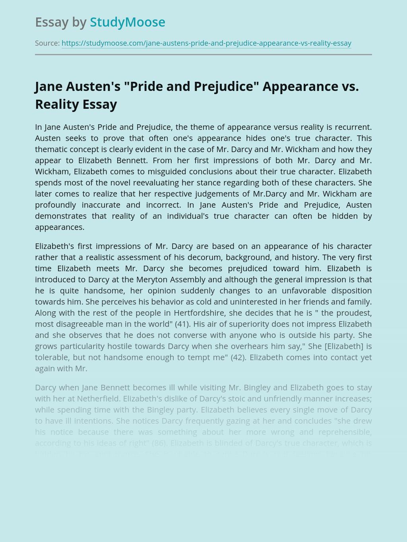 """Jane Austen's """"Pride and Prejudice"""" Appearance vs. Reality"""