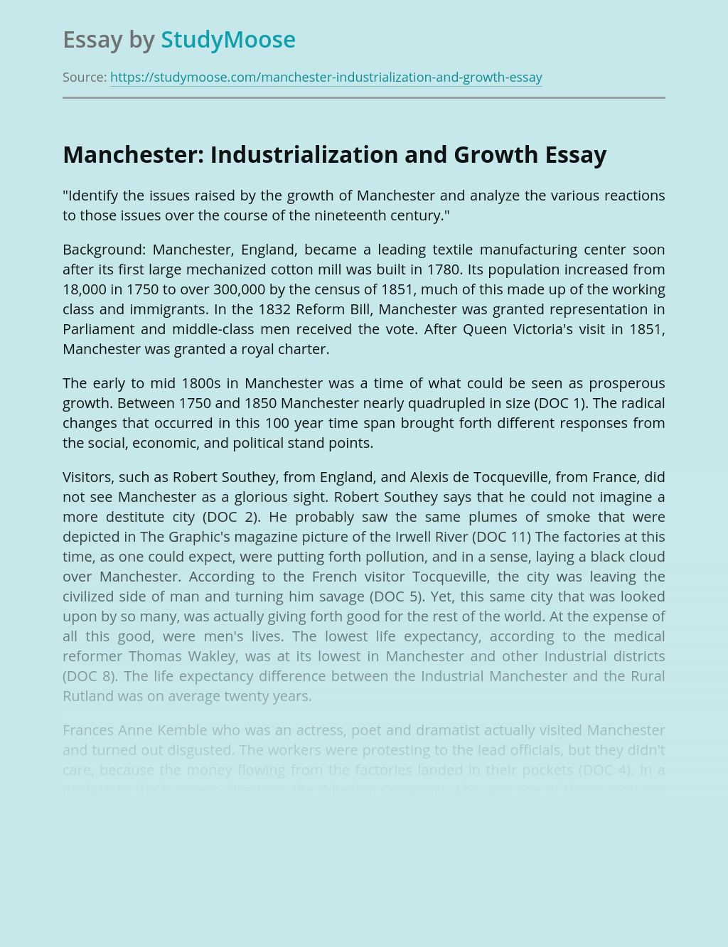 Industrial Revolution and Growth of Manchester