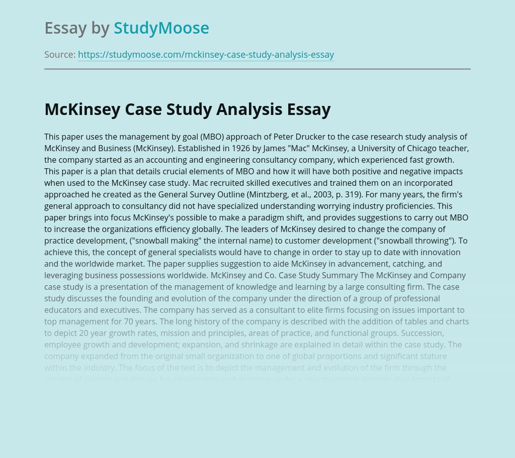 McKinsey Case Study Analysis