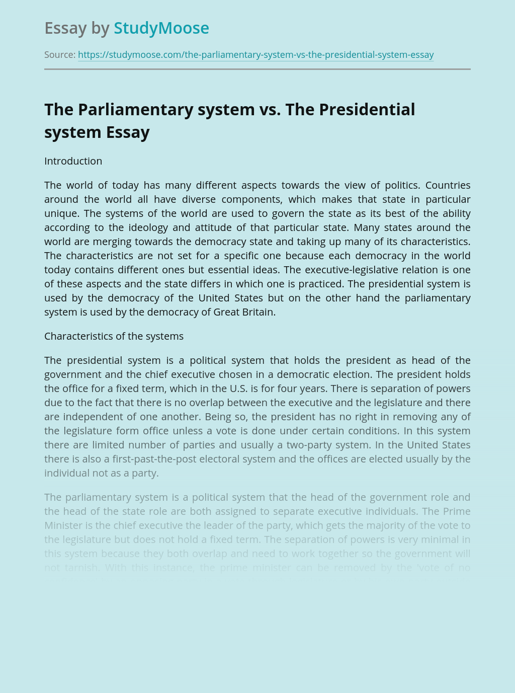 Parliamentary System, Presidential System and Democracy