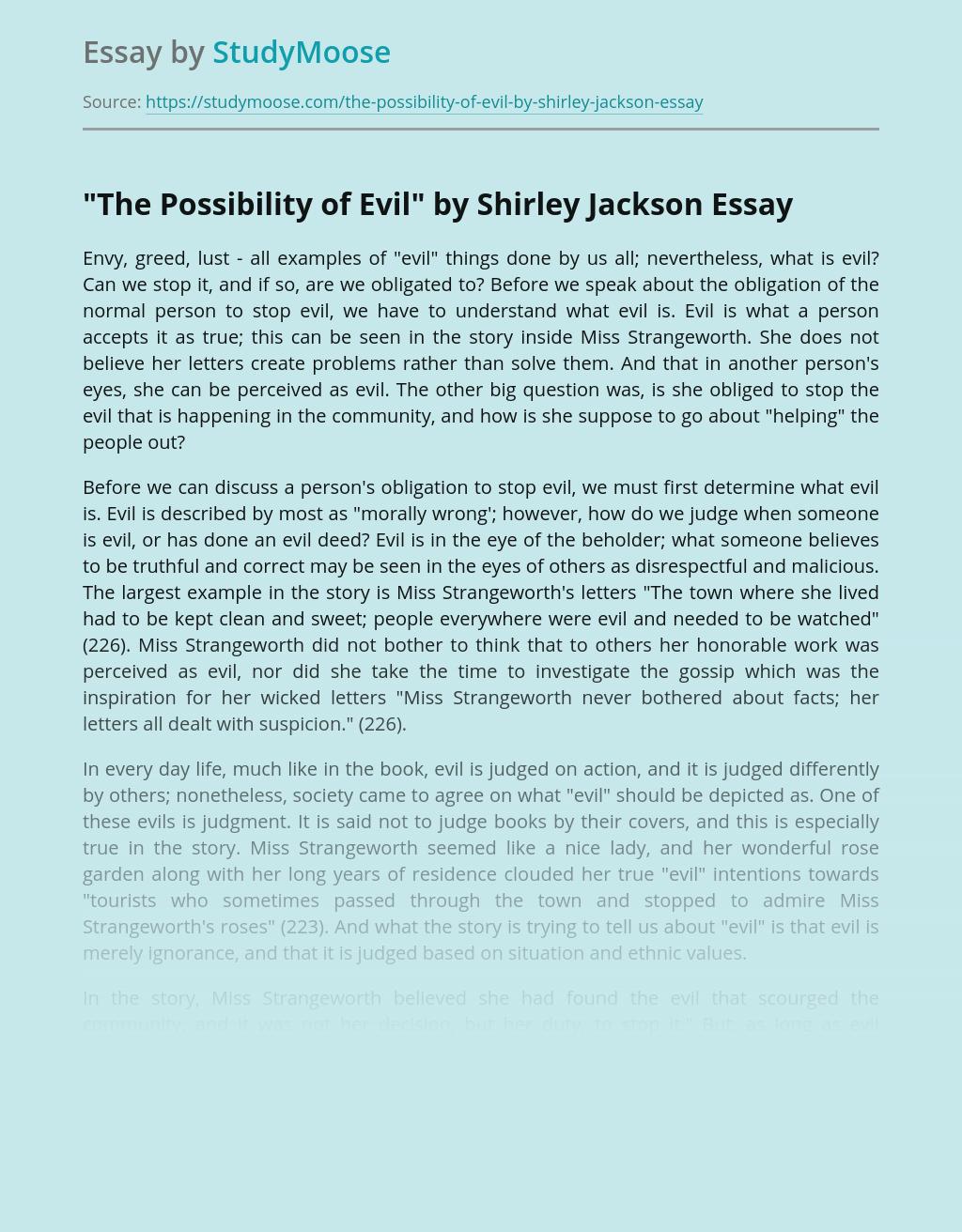 Moraliy in Shirley Jackson's Novel