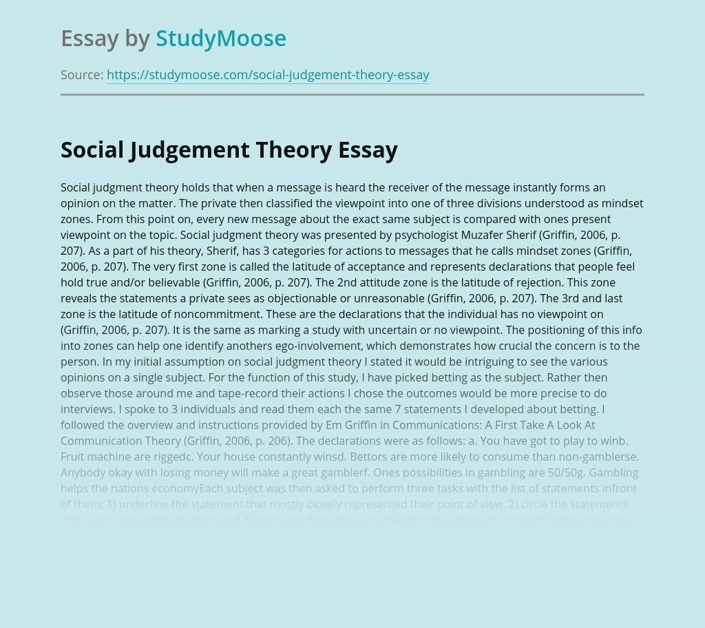 Social Judgement Theory