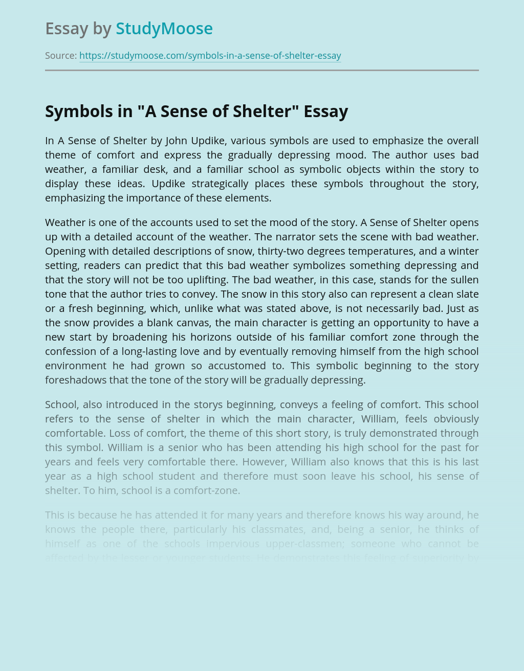 "Symbols in ""A Sense of Shelter"""