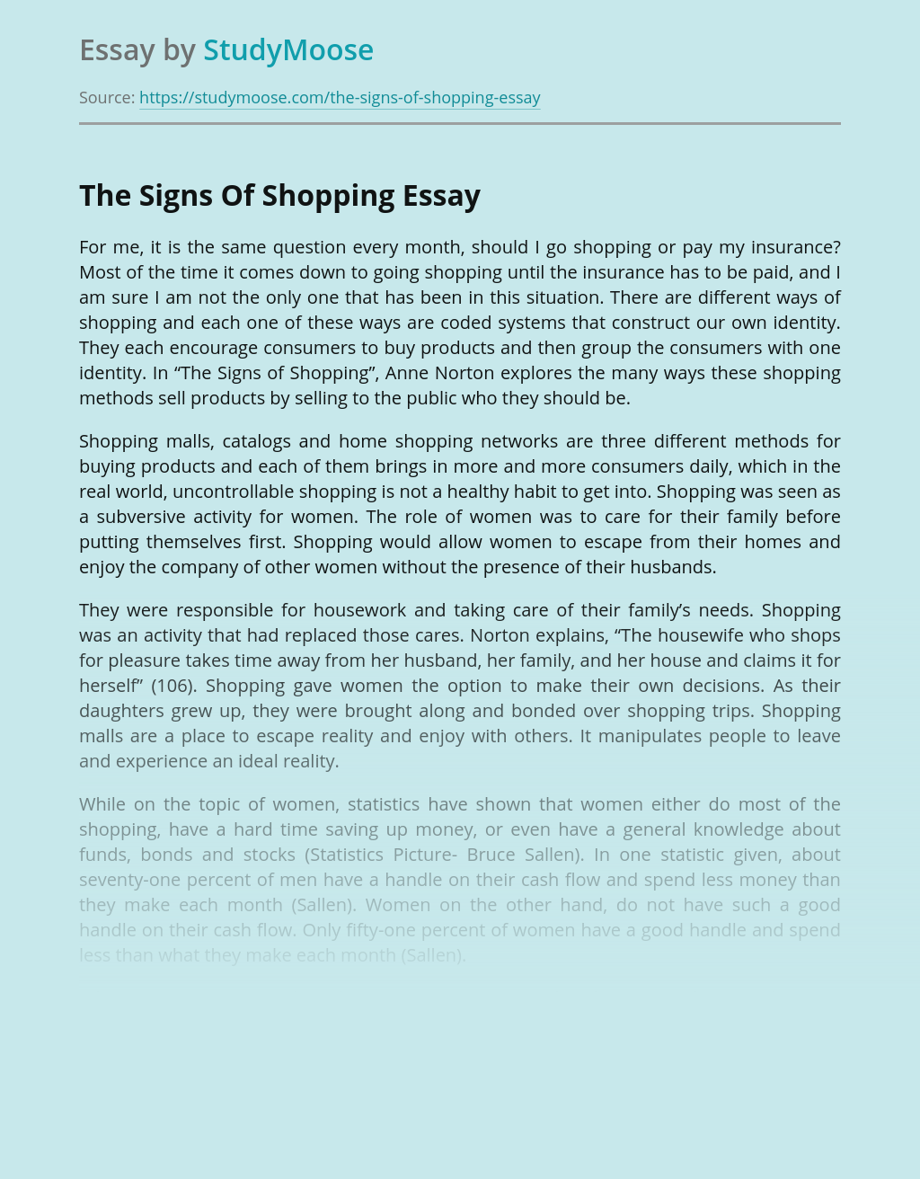 The Signs Of Shopping