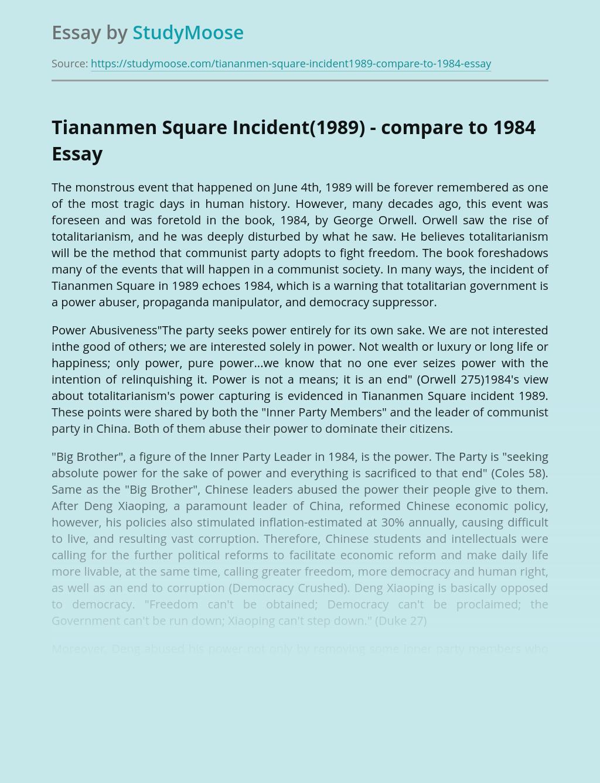 Tiananmen Square Incident(1989) - compare to 1984