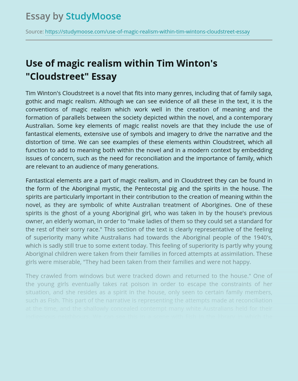 "Use of magic realism within Tim Winton's ""Cloudstreet"""