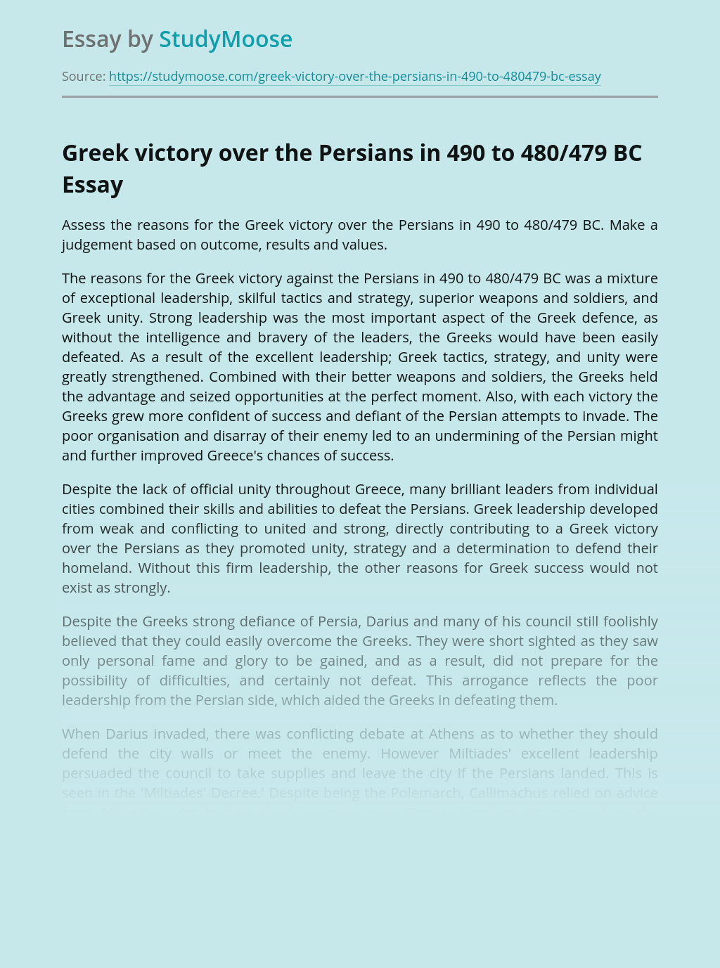Greek Victory Over the Persians in History