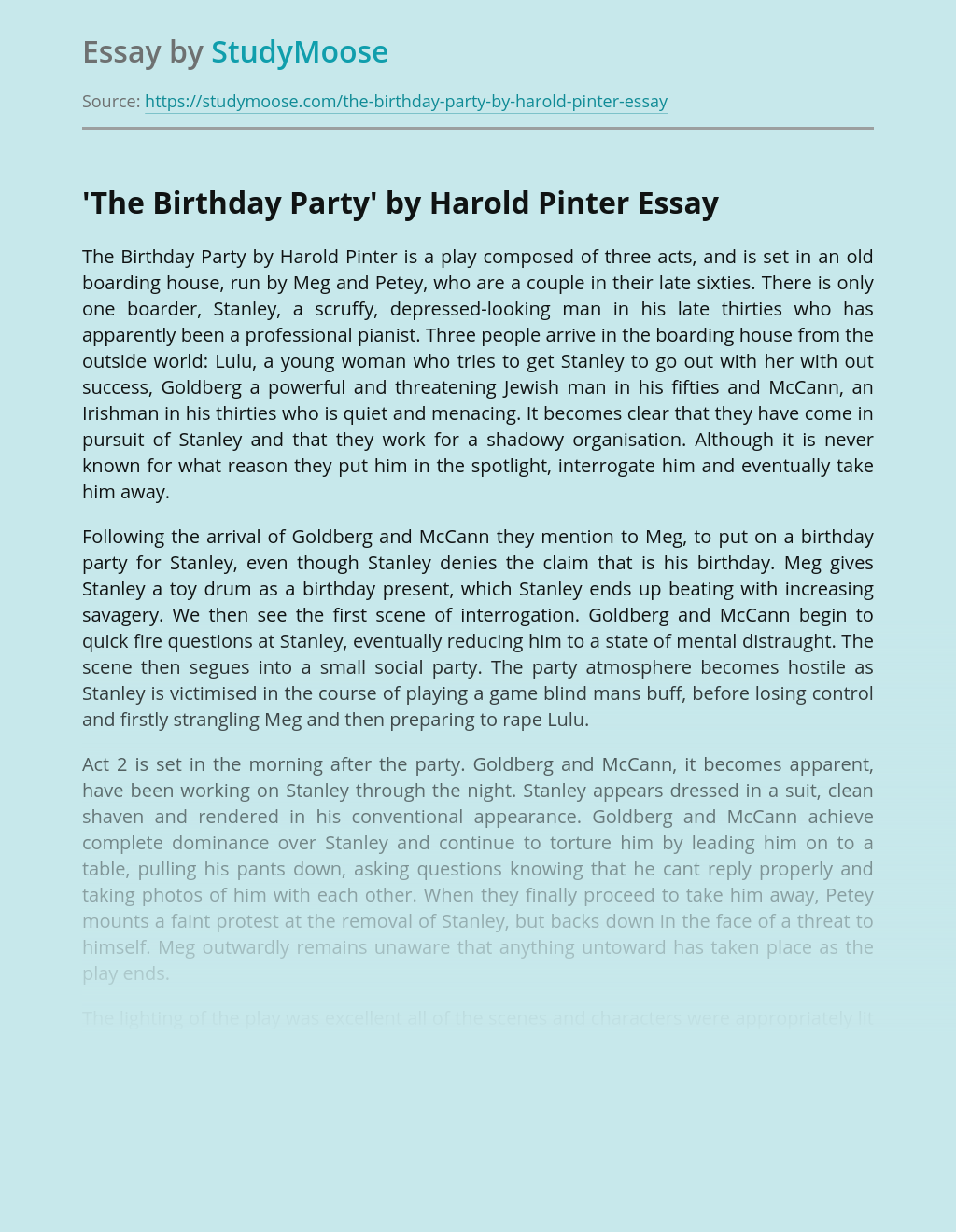 'The Birthday Party' by Harold Pinter