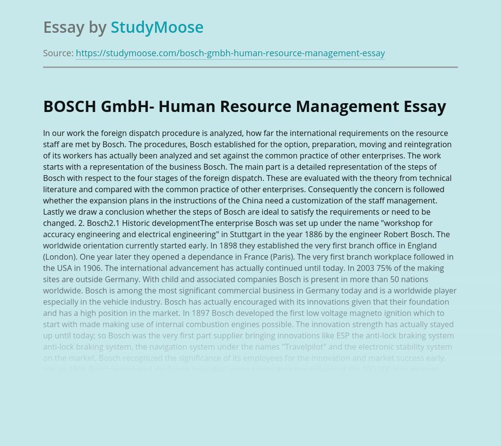 BOSCH GmbH- Human Resource Management