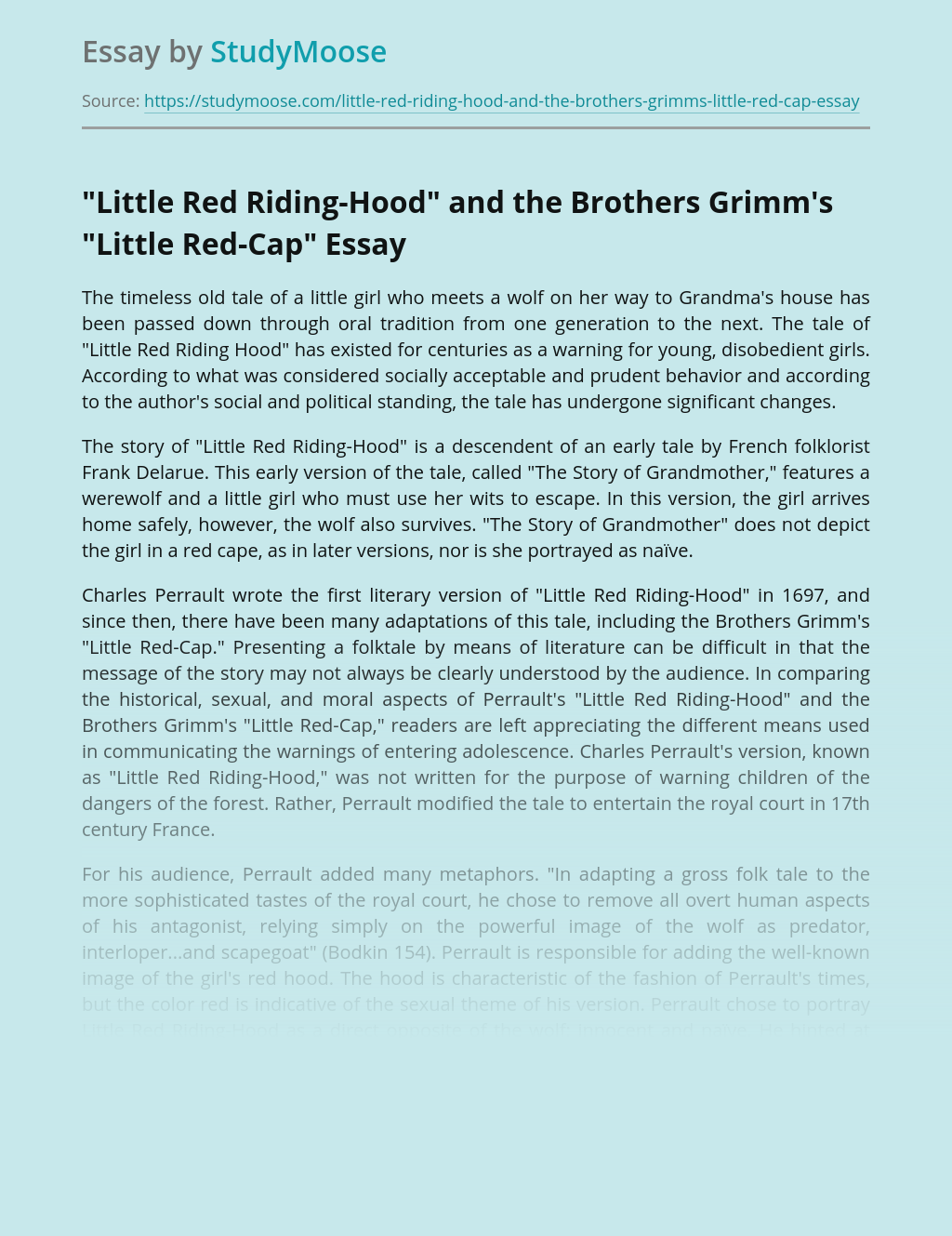 """""""Little Red Riding-Hood"""" and the Brothers Grimm's """"Little Red-Cap"""""""