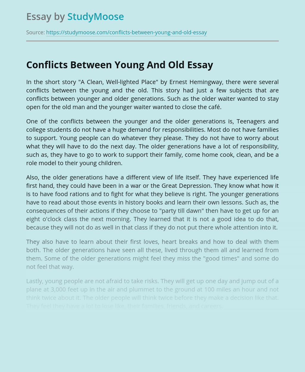 Conflicts Between Young And Old