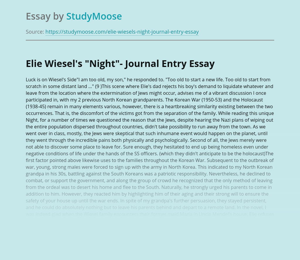 "Elie Wiesel's ""Night""- Journal Entry"
