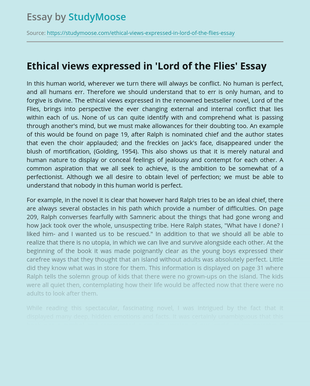 Ethical views expressed in 'Lord of the Flies'