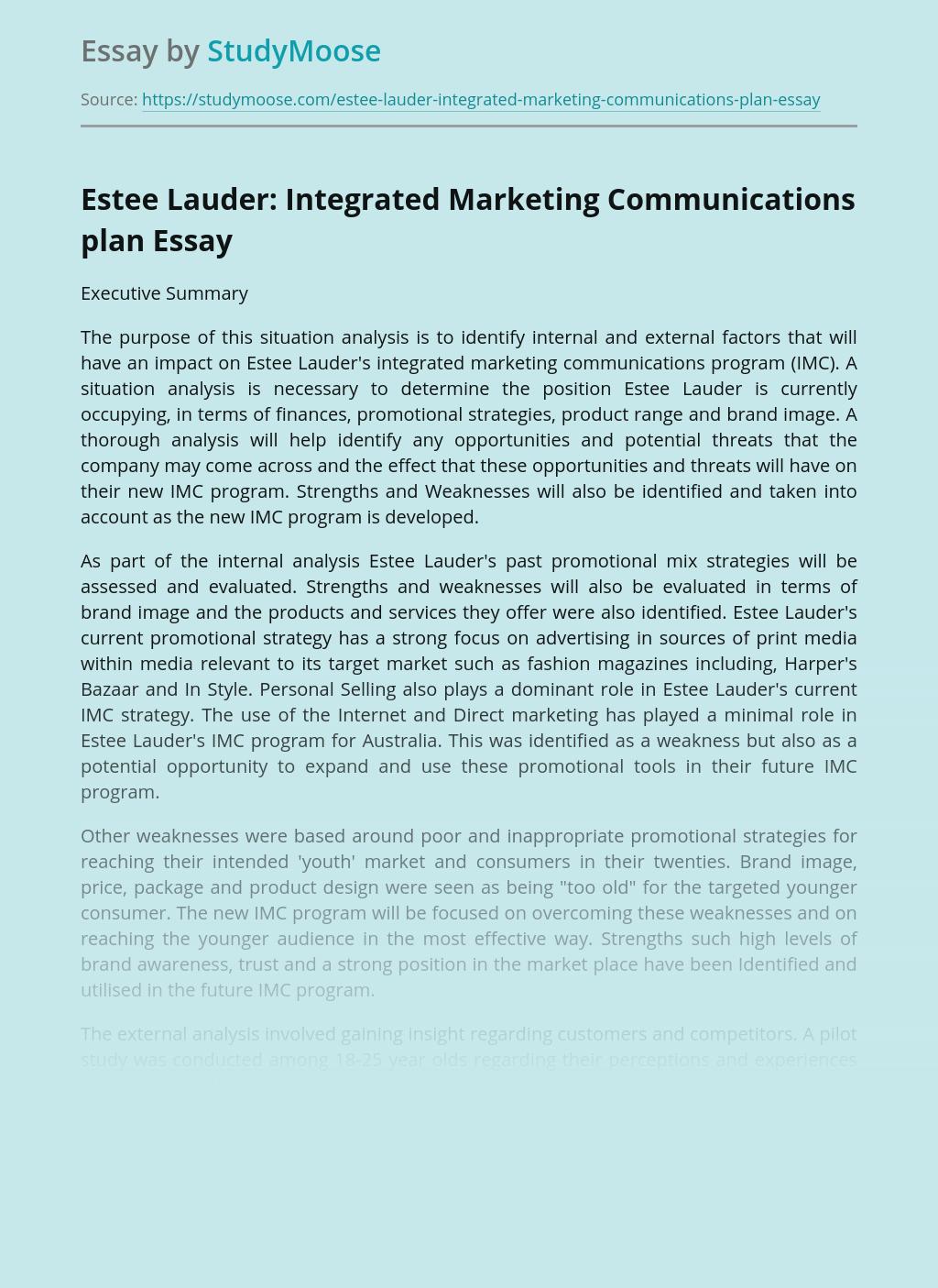 Estee Lauder: Integrated Marketing Communications plan