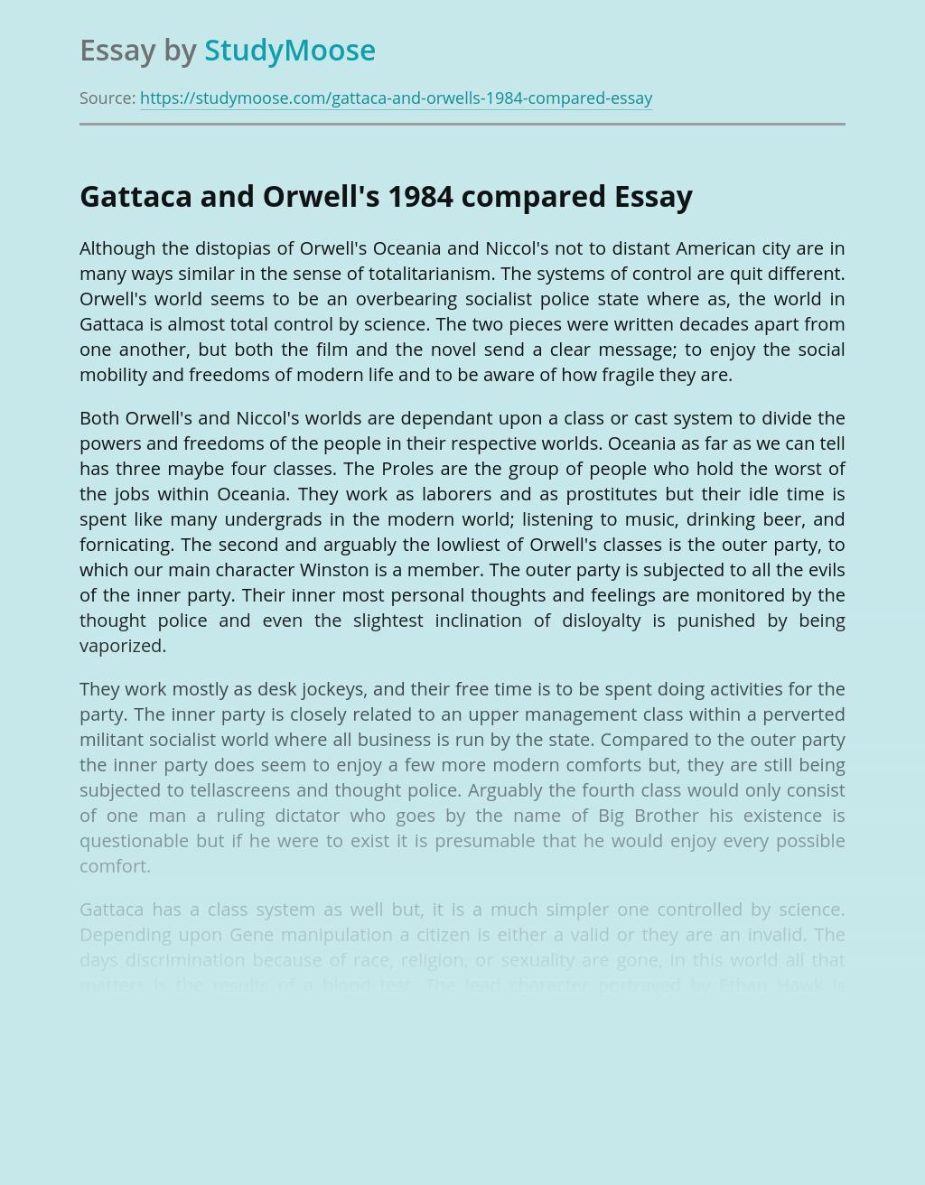 Gattaca and Orwell's 1984 compared